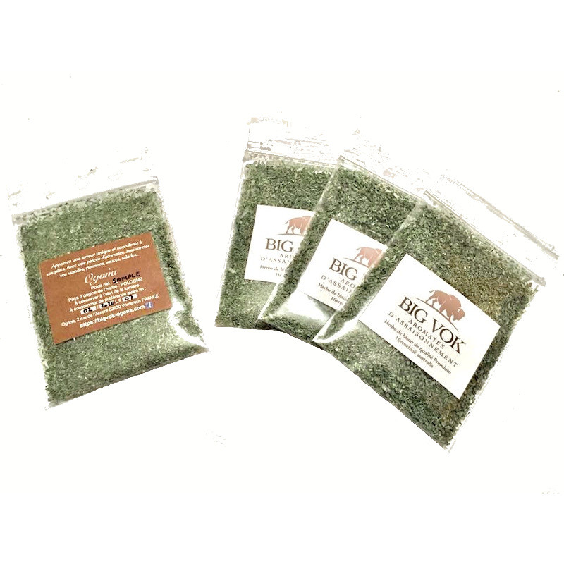 Sachets échantillons d'aromates d'assaisonnement herbe de bison Big Vok OGONA